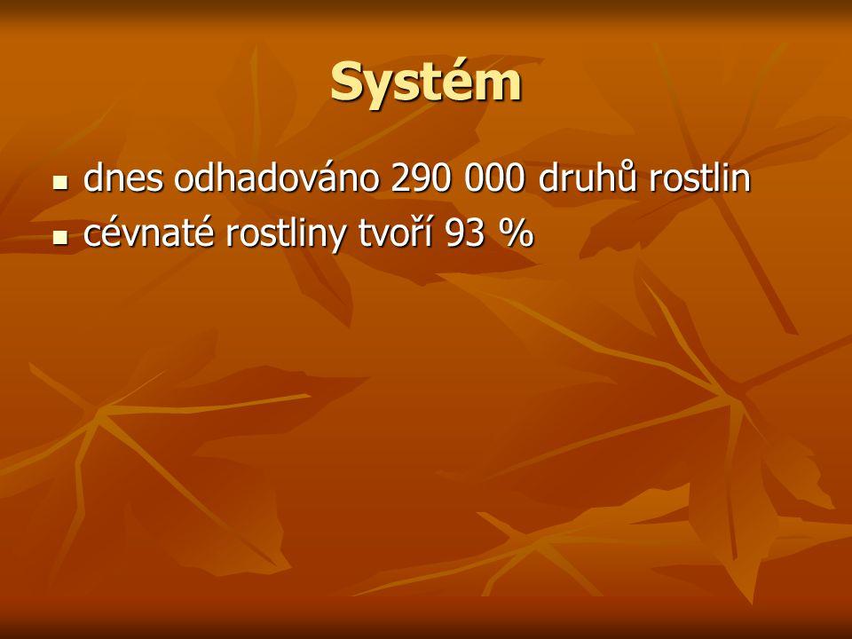 Systém dnes odhadováno 290 000 druhů rostlin