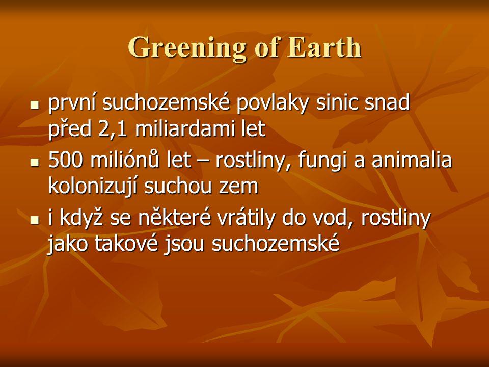 Greening of Earth první suchozemské povlaky sinic snad před 2,1 miliardami let. 500 miliónů let – rostliny, fungi a animalia kolonizují suchou zem.