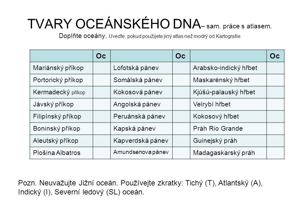TVARY OCEÁNSKÉHO DNA– sam. práce s atlasem. Doplňte oceány