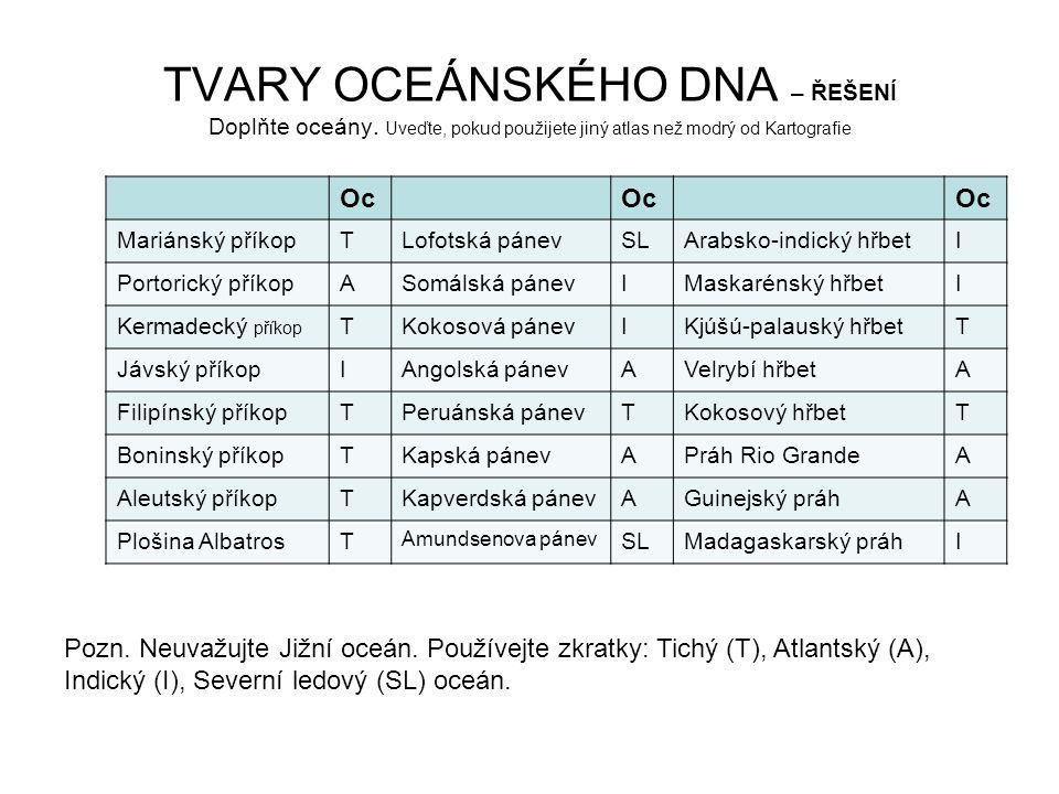 TVARY OCEÁNSKÉHO DNA – ŘEŠENÍ Doplňte oceány
