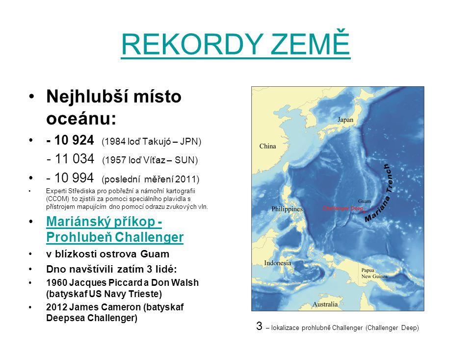 REKORDY ZEMĚ Nejhlubší místo oceánu: - 10 924 (1984 loď Takujó – JPN)