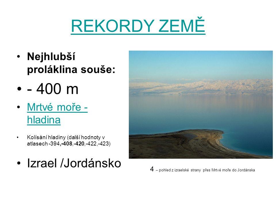 REKORDY ZEMĚ - 400 m Izrael /Jordánsko Nejhlubší proláklina souše: