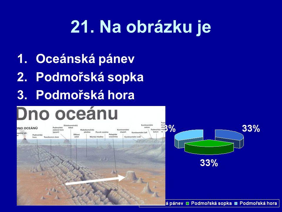 21. Na obrázku je Oceánská pánev Podmořská sopka Podmořská hora
