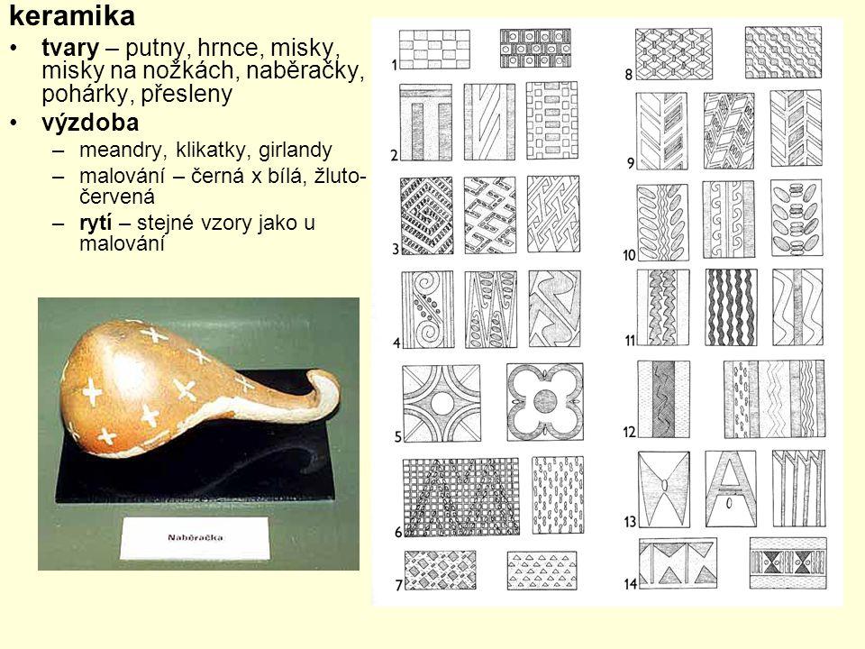 keramika tvary – putny, hrnce, misky, misky na nožkách, naběračky, pohárky, přesleny. výzdoba. meandry, klikatky, girlandy.