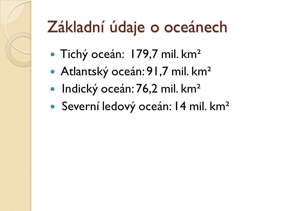 Základní údaje o oceánech