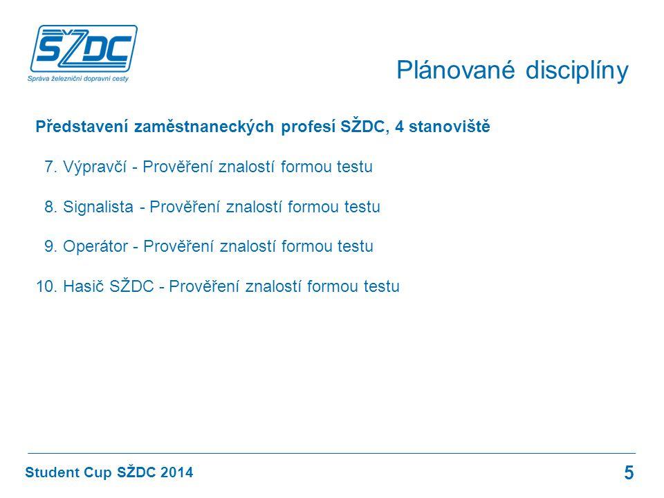 Plánované disciplíny Představení zaměstnaneckých profesí SŽDC, 4 stanoviště. 7. Výpravčí - Prověření znalostí formou testu.