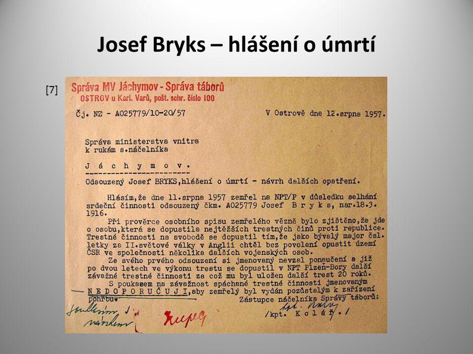 Josef Bryks – hlášení o úmrtí