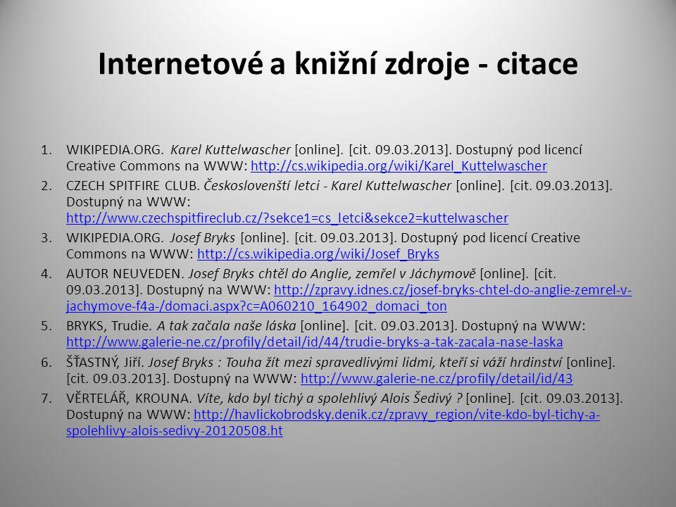Internetové a knižní zdroje - citace