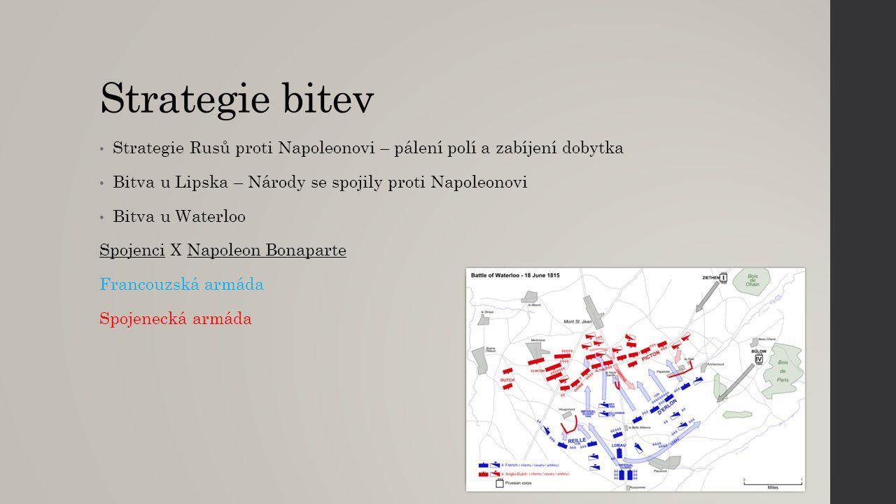 Strategie bitev Strategie Rusů proti Napoleonovi – pálení polí a zabíjení dobytka. Bitva u Lipska – Národy se spojily proti Napoleonovi.