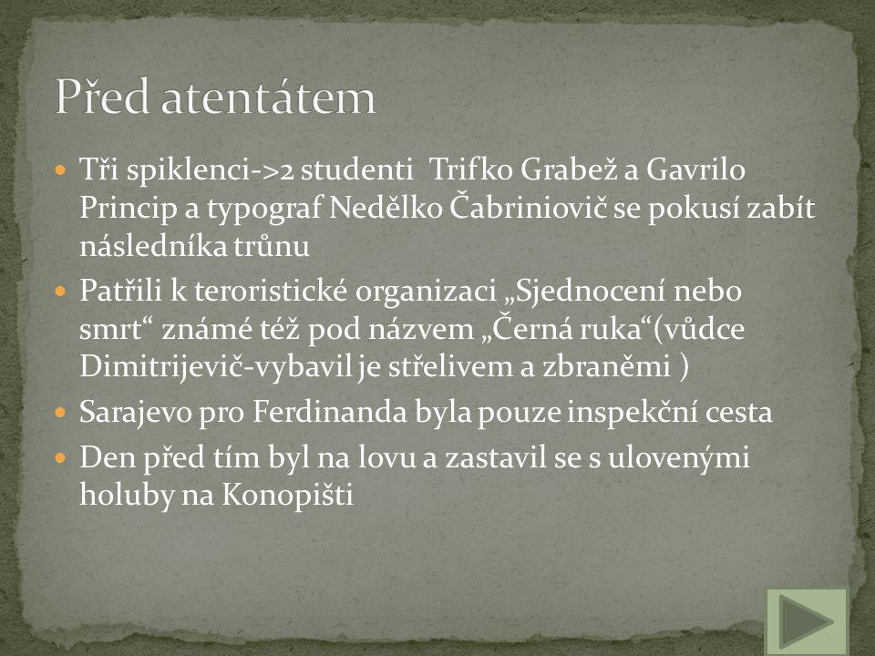 Před atentátem Tři spiklenci->2 studenti Trifko Grabež a Gavrilo Princip a typograf Nedělko Čabriniovič se pokusí zabít následníka trůnu.