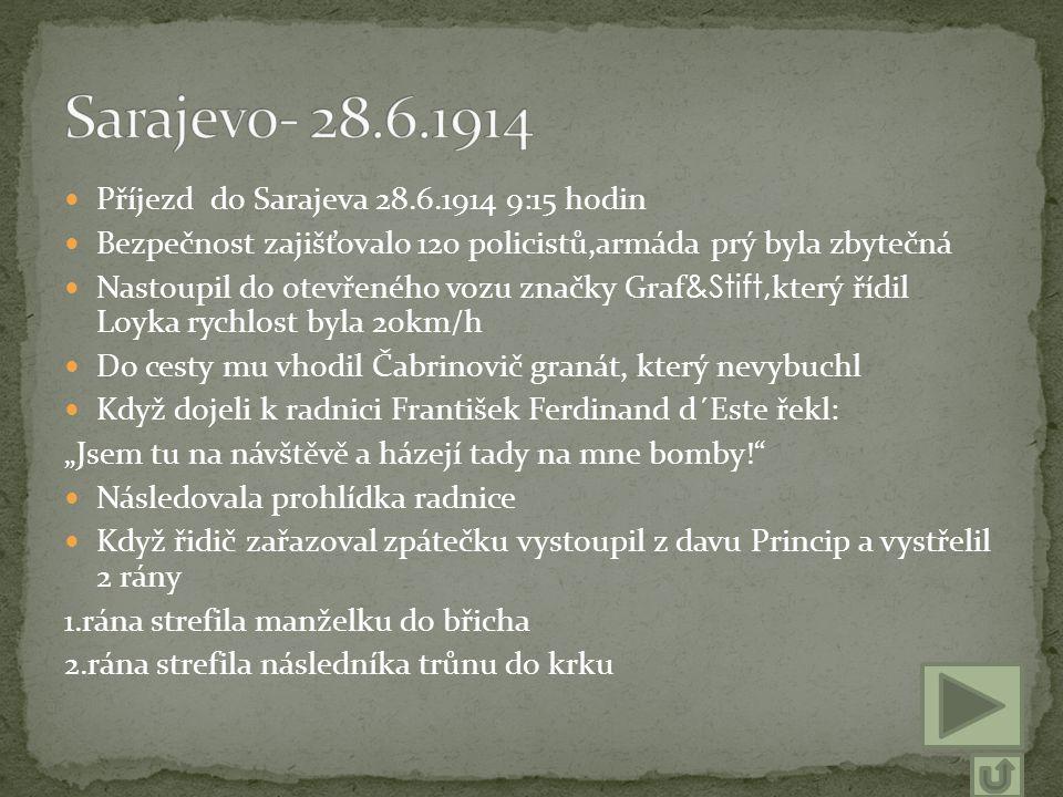 Sarajevo- 28.6.1914 Příjezd do Sarajeva 28.6.1914 9:15 hodin