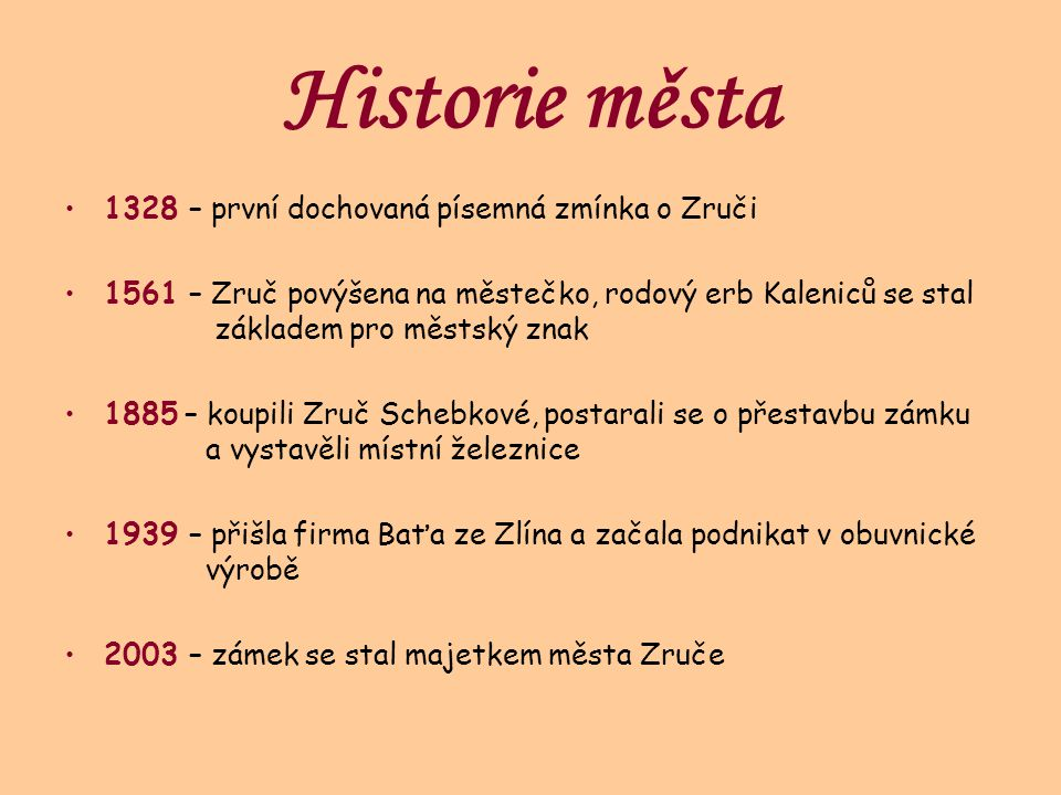 Historie města 1328 – první dochovaná písemná zmínka o Zruči
