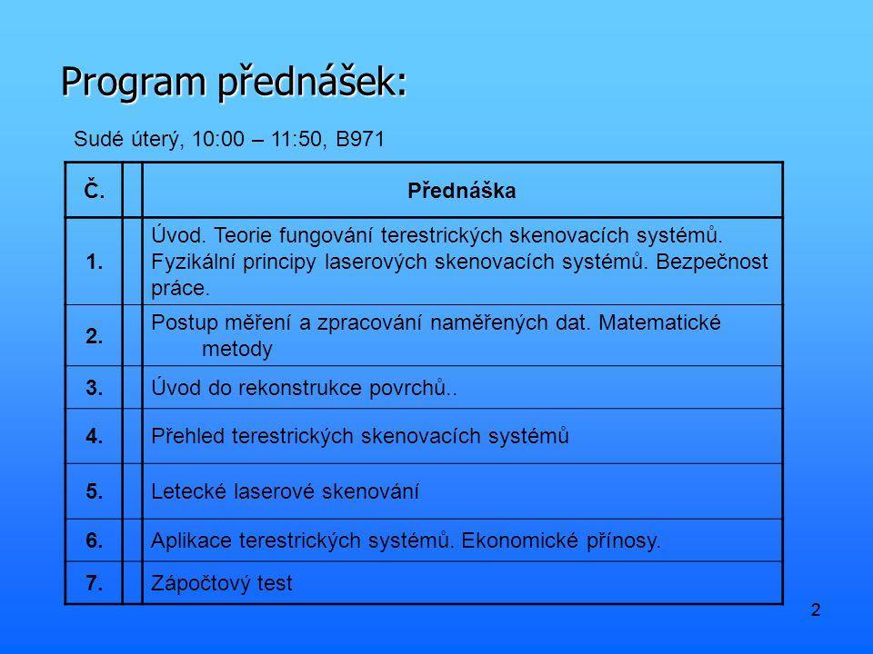 Program přednášek: Sudé úterý, 10:00 – 11:50, B971 Č. Přednáška 1.