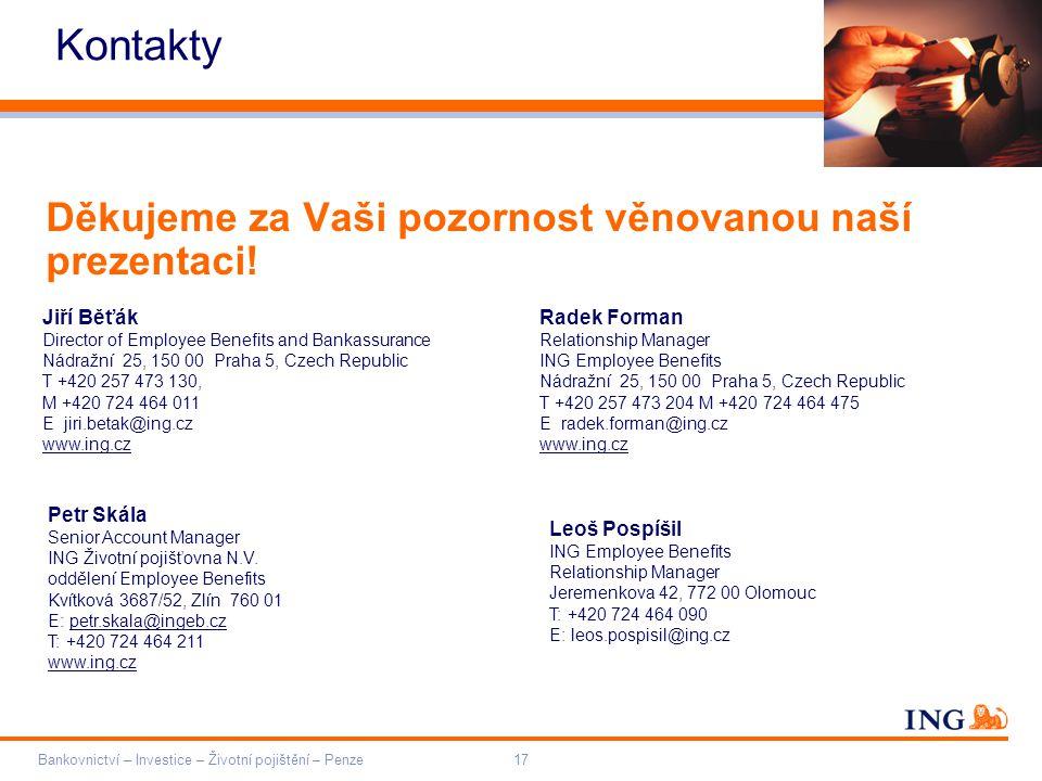 Kontakty Děkujeme za Vaši pozornost věnovanou naší prezentaci!