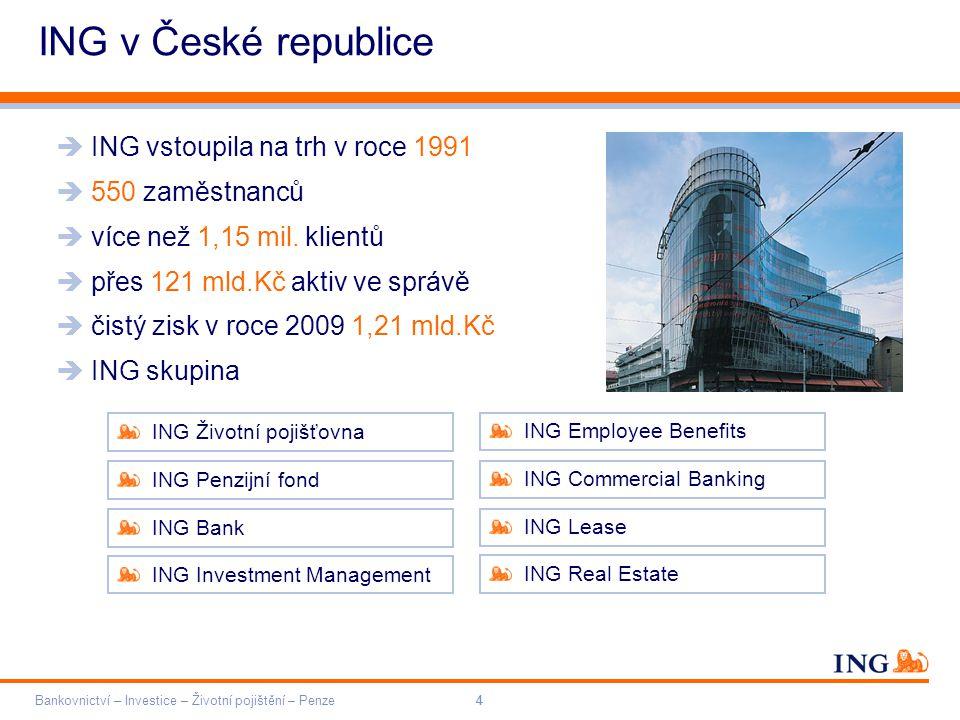 ING v České republice ING vstoupila na trh v roce 1991 550 zaměstnanců