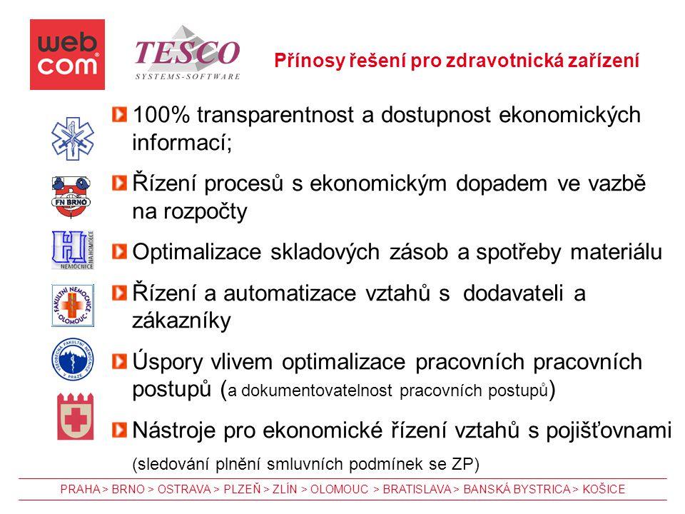 100% transparentnost a dostupnost ekonomických informací;