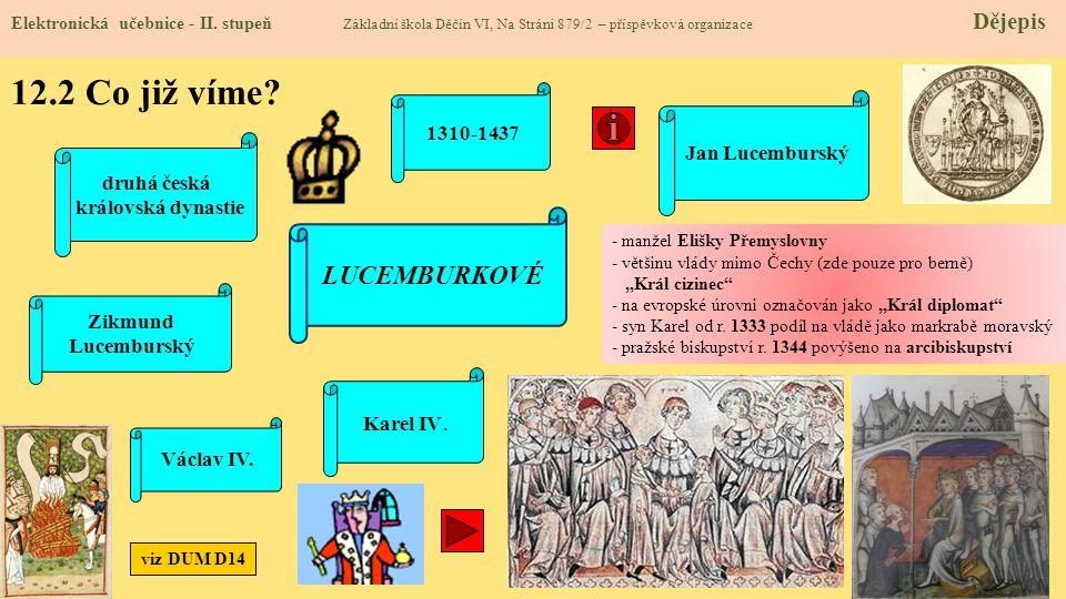 12.2 Co již víme LUCEMBURKOVÉ 1310-1437 Jan Lucemburský druhá česká