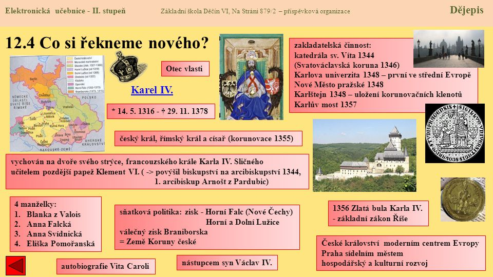 12.4 Co si řekneme nového Karel IV.