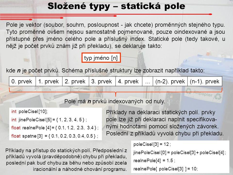 Složené typy – statická pole