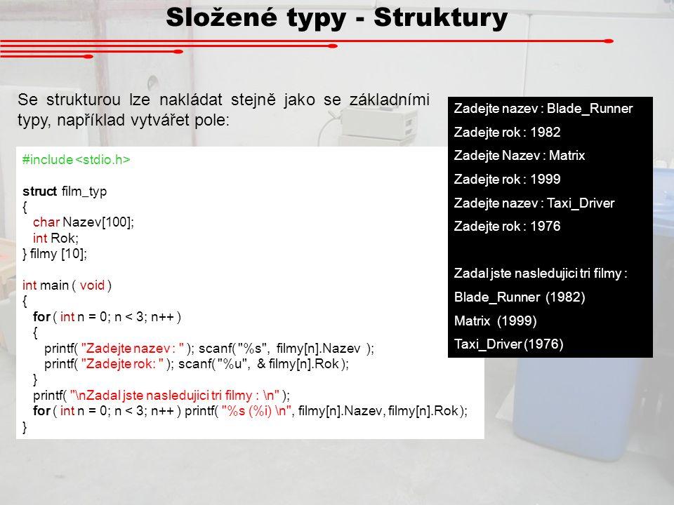 Složené typy - Struktury
