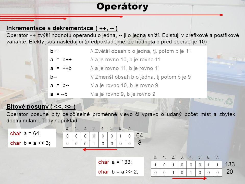 Operátory Inkrementace a dekrementace ( ++, -- )