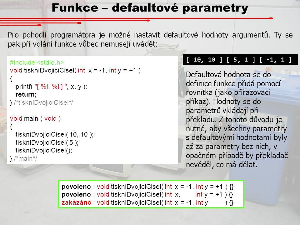 Funkce – defaultové parametry