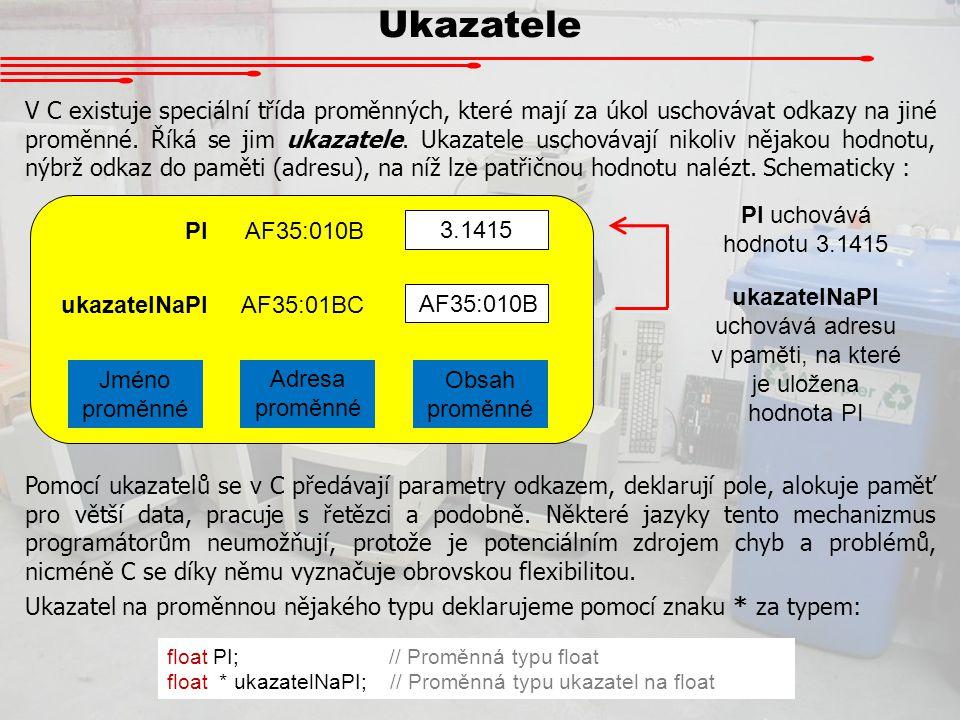 ukazatelNaPI uchovává adresu v paměti, na které je uložena hodnota PI