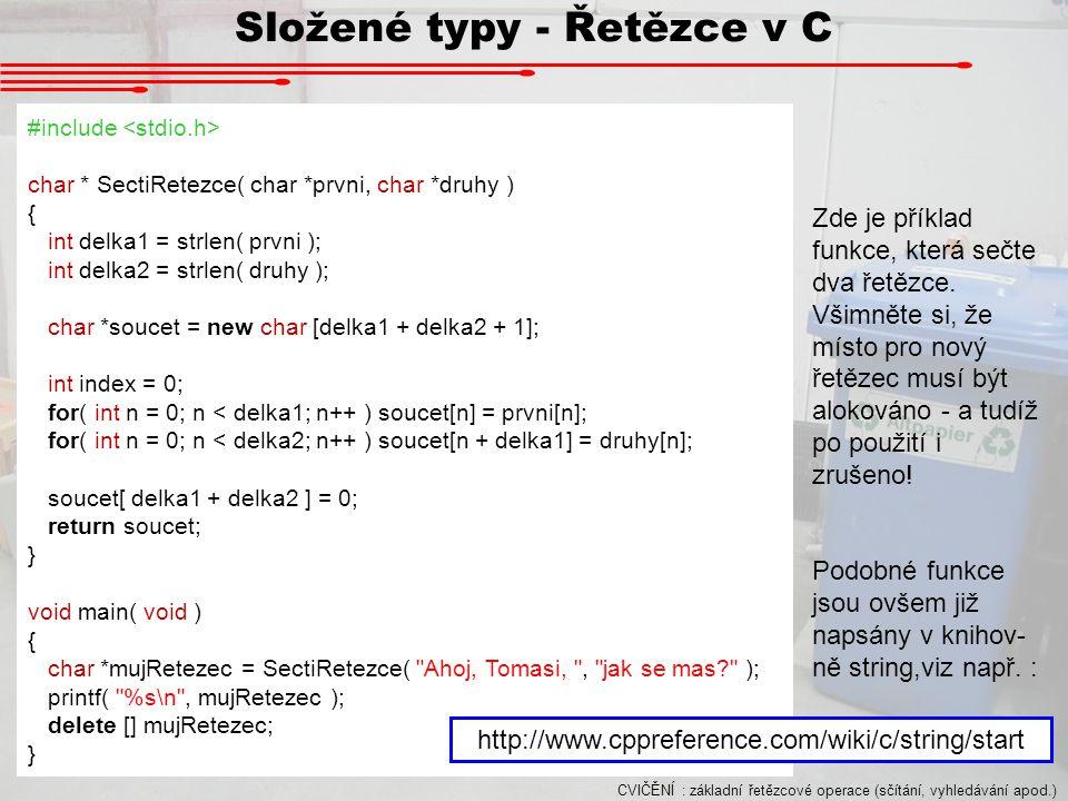 Složené typy - Řetězce v C