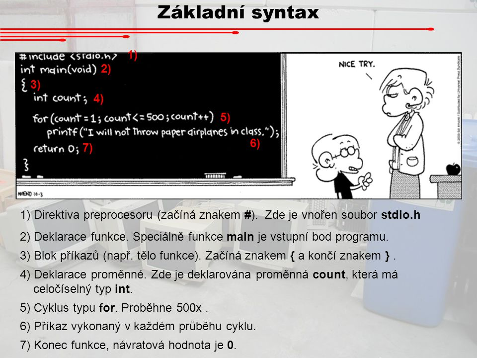 Základní syntax 1) 2) 3) 4) 5) 6) 7)