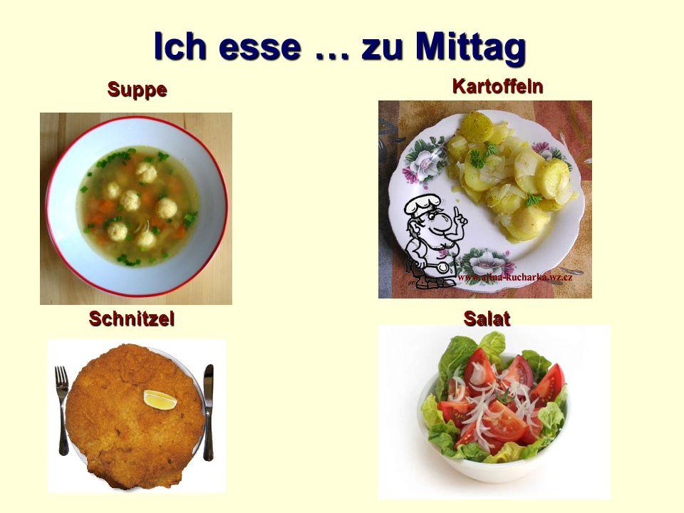 Ich esse … zu Mittag Suppe Kartoffeln Schnitzel Salat