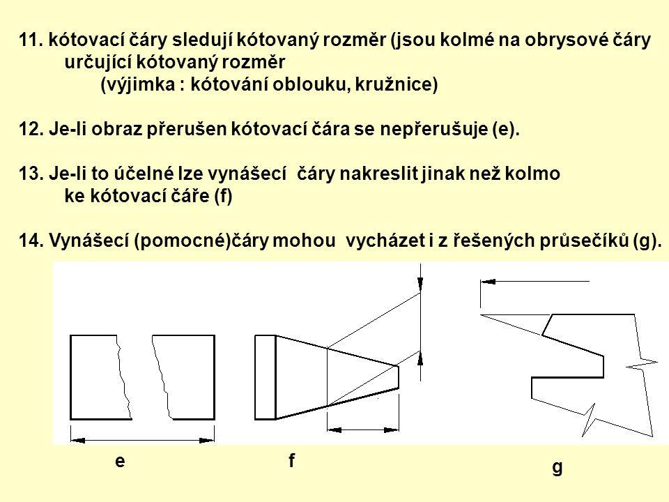 11. kótovací čáry sledují kótovaný rozměr (jsou kolmé na obrysové čáry