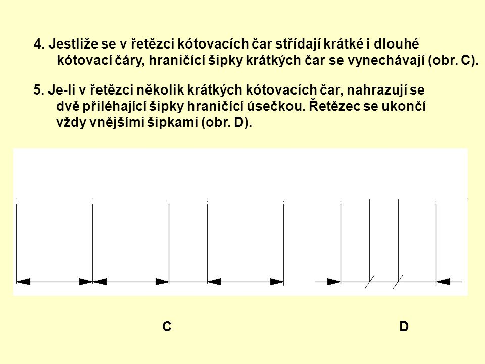 4. Jestliže se v řetězci kótovacích čar střídají krátké i dlouhé