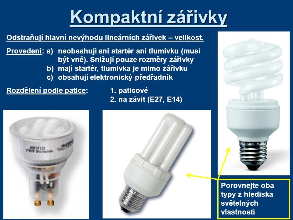 Kompaktní zářivky Odstraňují hlavní nevýhodu lineárních zářivek – velikost.