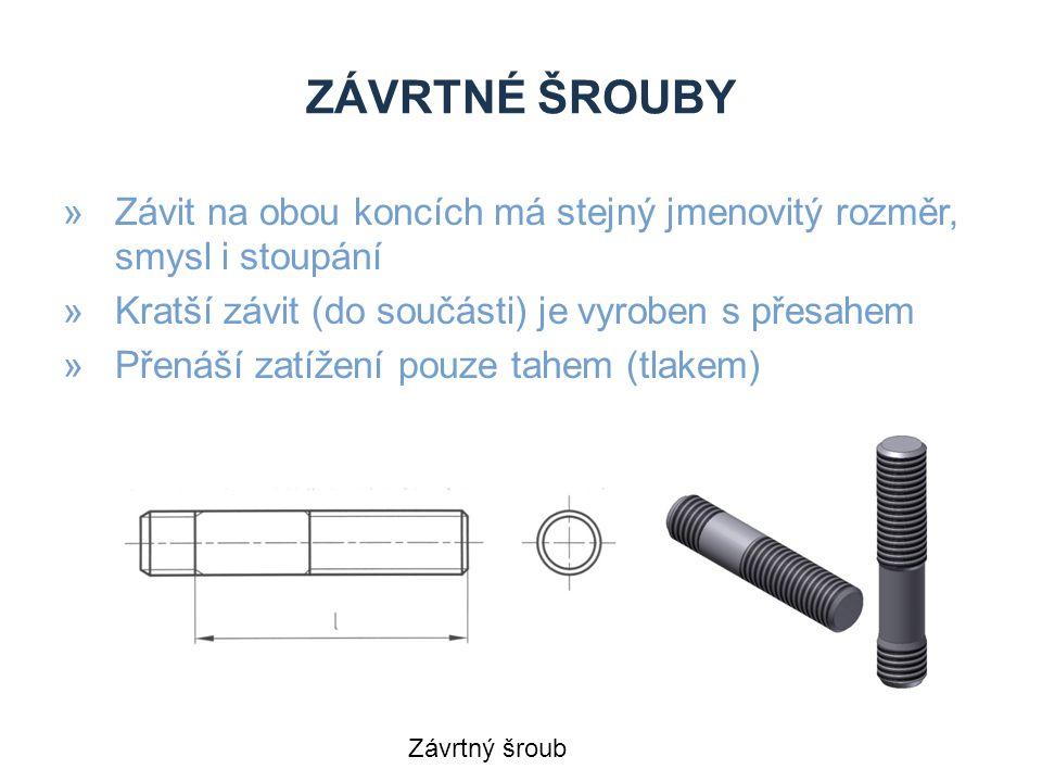 Závrtné šrouby Závit na obou koncích má stejný jmenovitý rozměr, smysl i stoupání. Kratší závit (do součásti) je vyroben s přesahem.