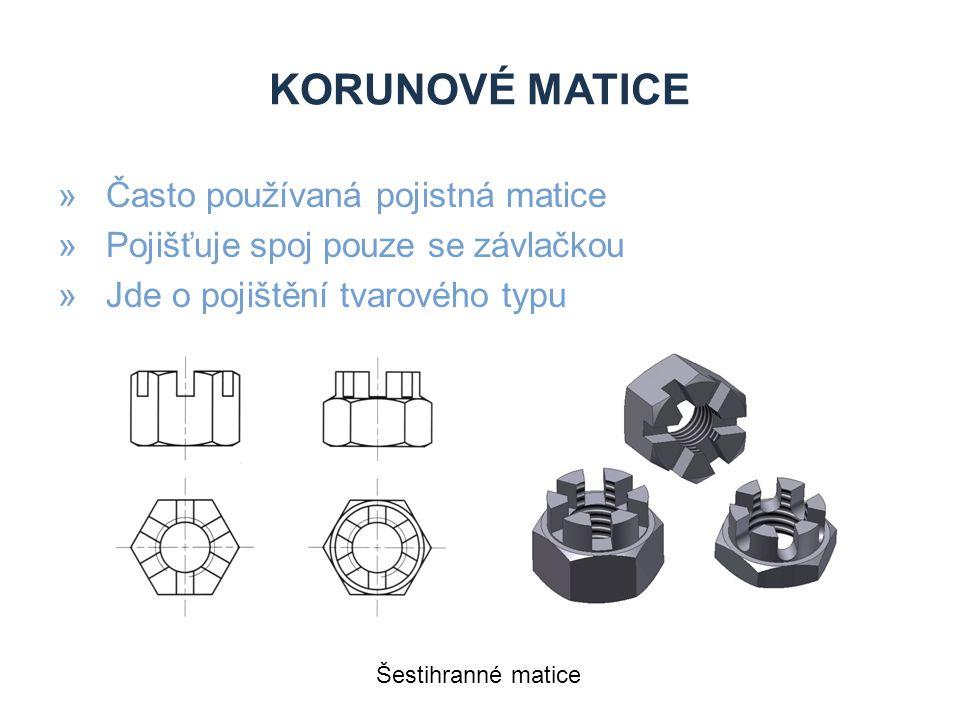 Korunové matice Často používaná pojistná matice