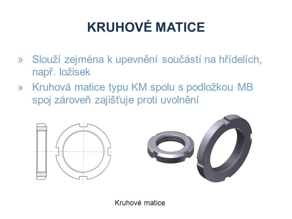 Kruhové matice Slouží zejména k upevnění součástí na hřídelích, např. ložisek.