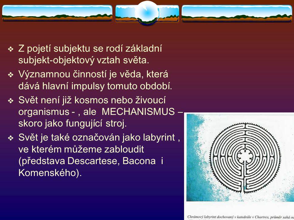 Z pojetí subjektu se rodí základní subjekt-objektový vztah světa.