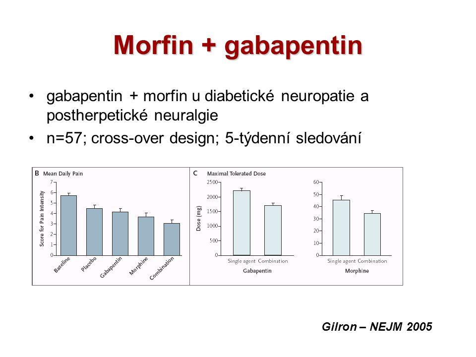 Morfin + gabapentin gabapentin + morfin u diabetické neuropatie a postherpetické neuralgie. n=57; cross-over design; 5-týdenní sledování.