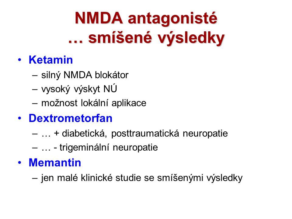 NMDA antagonisté … smíšené výsledky