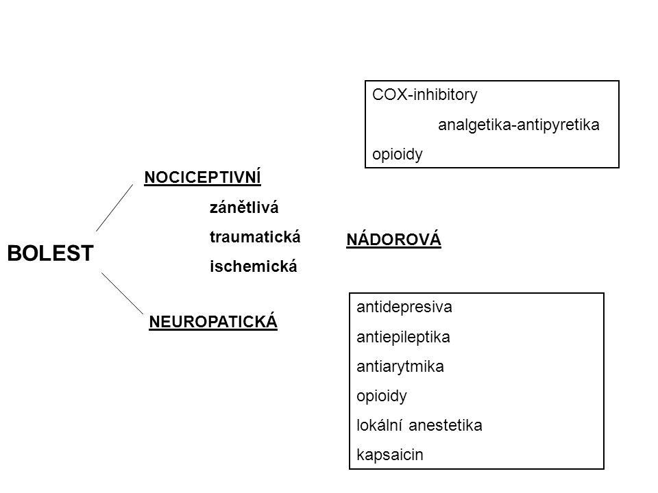 BOLEST COX-inhibitory analgetika-antipyretika opioidy NOCICEPTIVNÍ