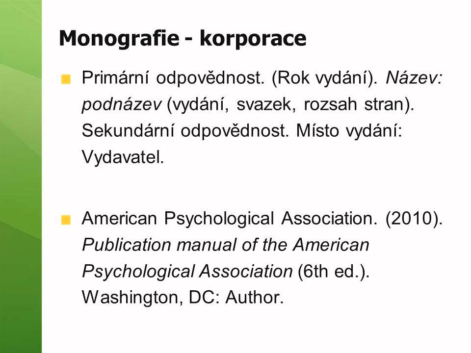 Monografie - korporace