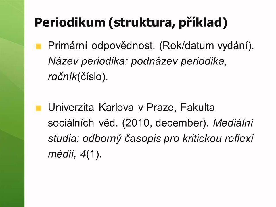Periodikum (struktura, příklad)