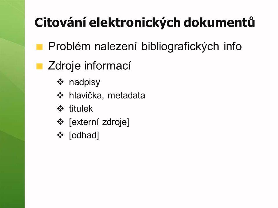 Citování elektronických dokumentů