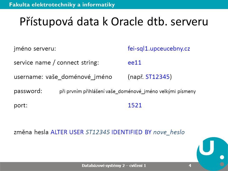 Přístupová data k Oracle dtb. serveru