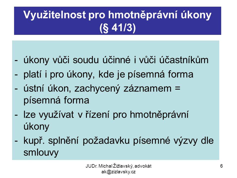 Využitelnost pro hmotněprávní úkony (§ 41/3)