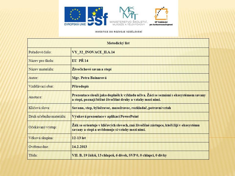 Metodický list Pořadové číslo: VY_32_INOVACE_II.A.14. Název pro školu: EU PŘ 14. Název materiálu: