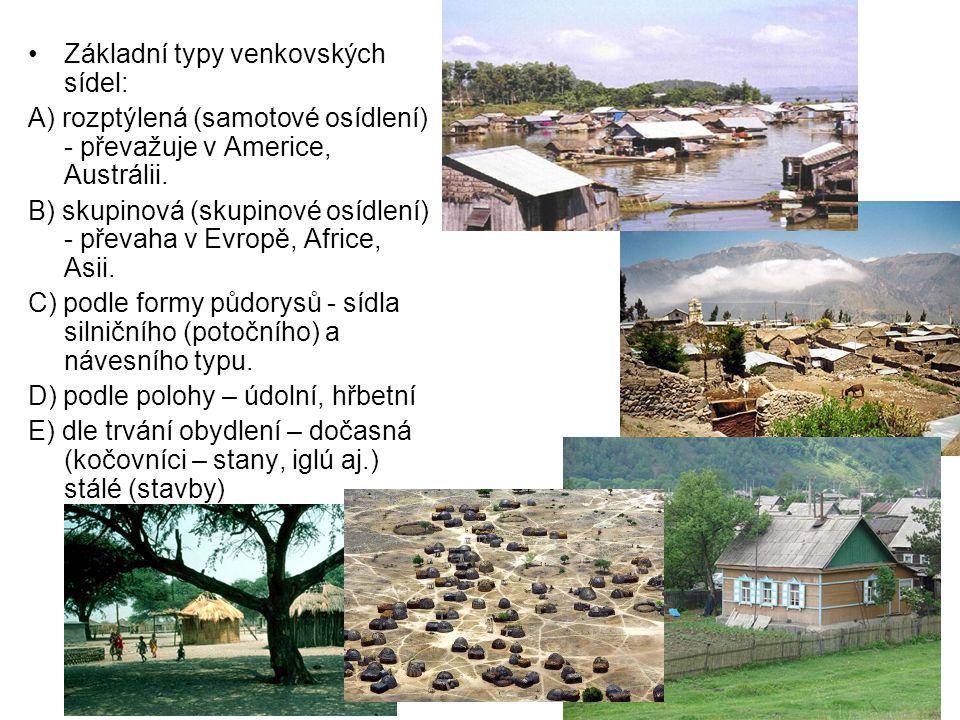 Základní typy venkovských sídel: