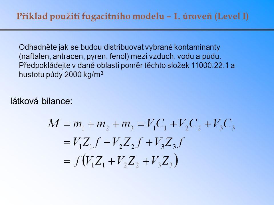 Příklad použití fugacitního modelu – 1. úroveň (Level I)