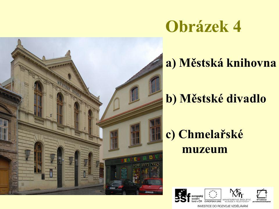 Obrázek 4 a) Městská knihovna b) Městské divadlo c) Chmelařské muzeum