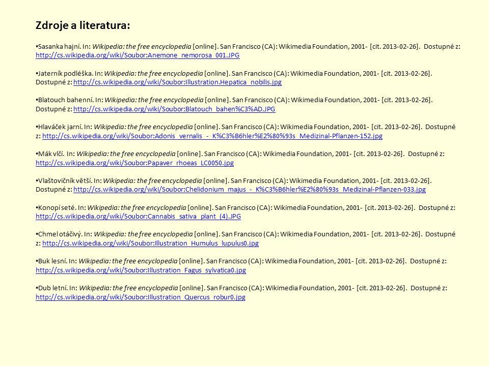 Zdroje a literatura: